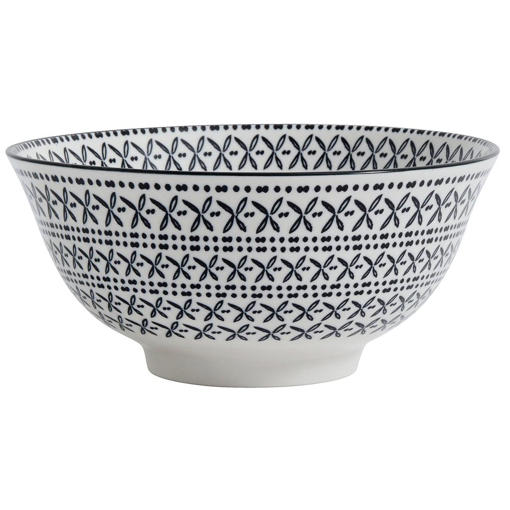 NORDAL · Keramik-Schale Müslischale INCA 16cm · schwarz weiß