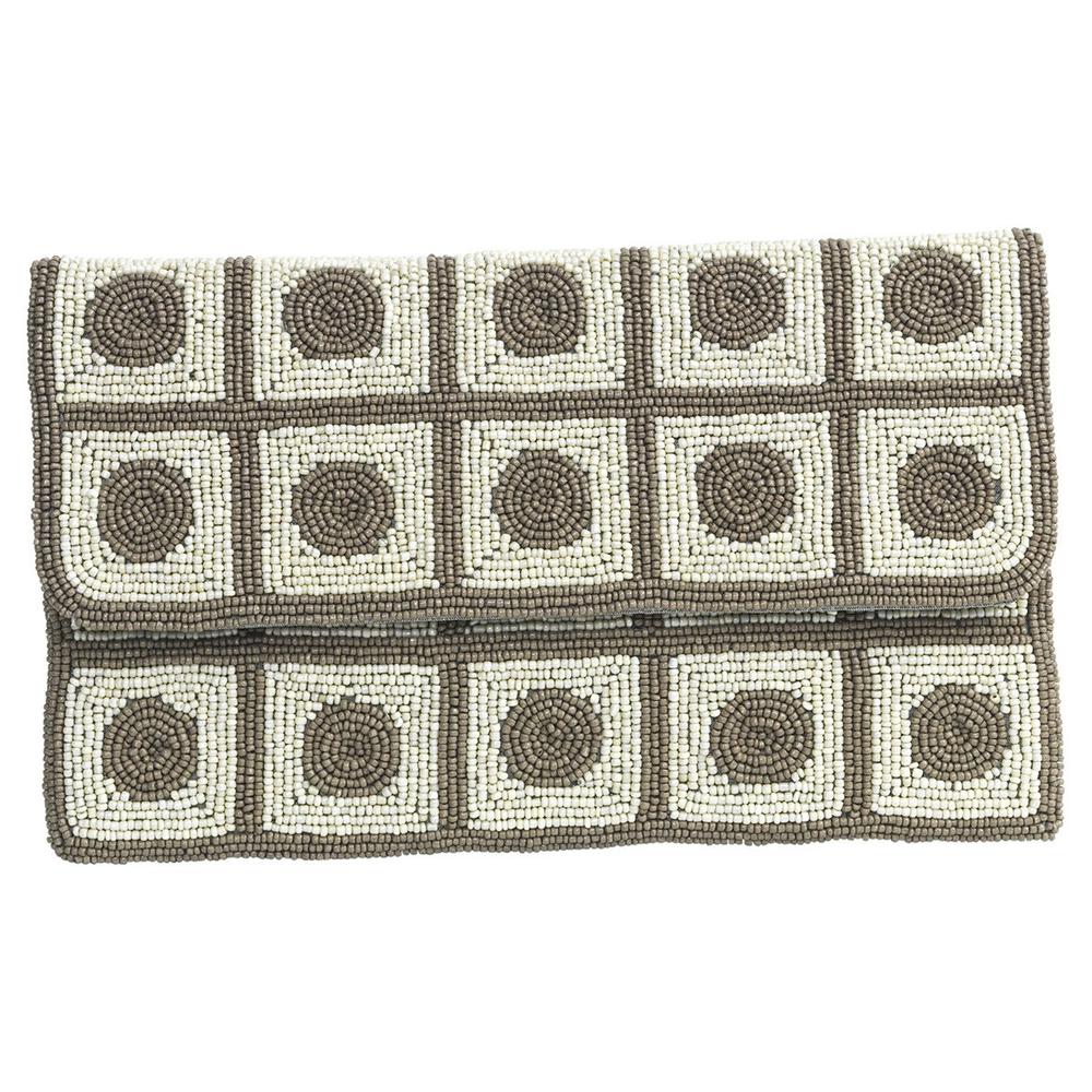theMoshi · Damen-Handtasche Unterarmtasche Clutch mit Perlen ' Dottie ' 28cm · beige braun