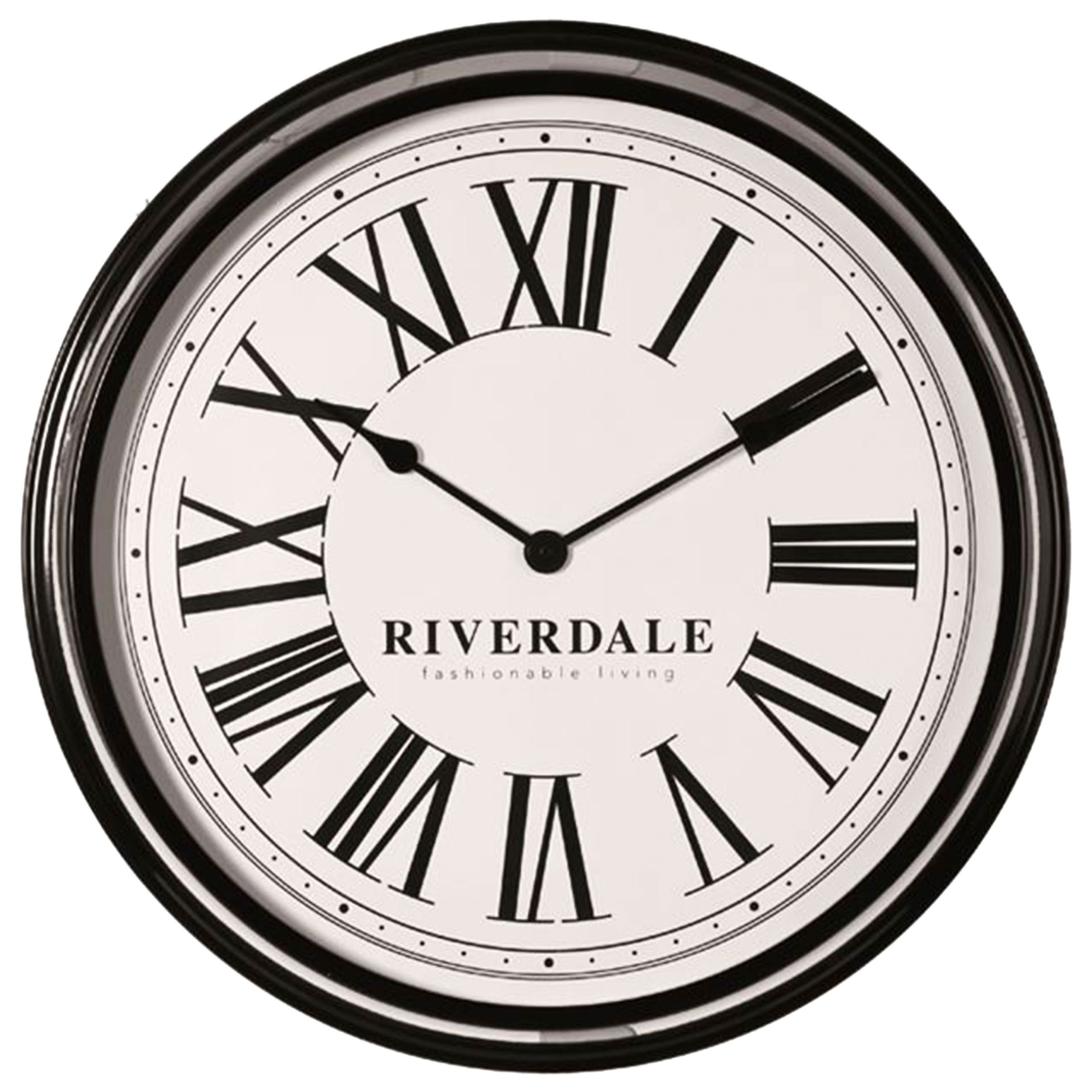 riverdale metall wanduhr time 68cm schwarz wei wohnaccessoires fenster wanddeko wanddeko. Black Bedroom Furniture Sets. Home Design Ideas