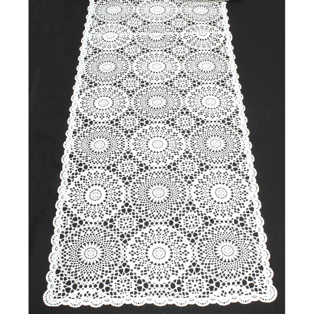 KERSTEN Outdoor-Tischläufer abwischbar wetterfest 'Crochet' 40x150cm Weiß – Bild 4