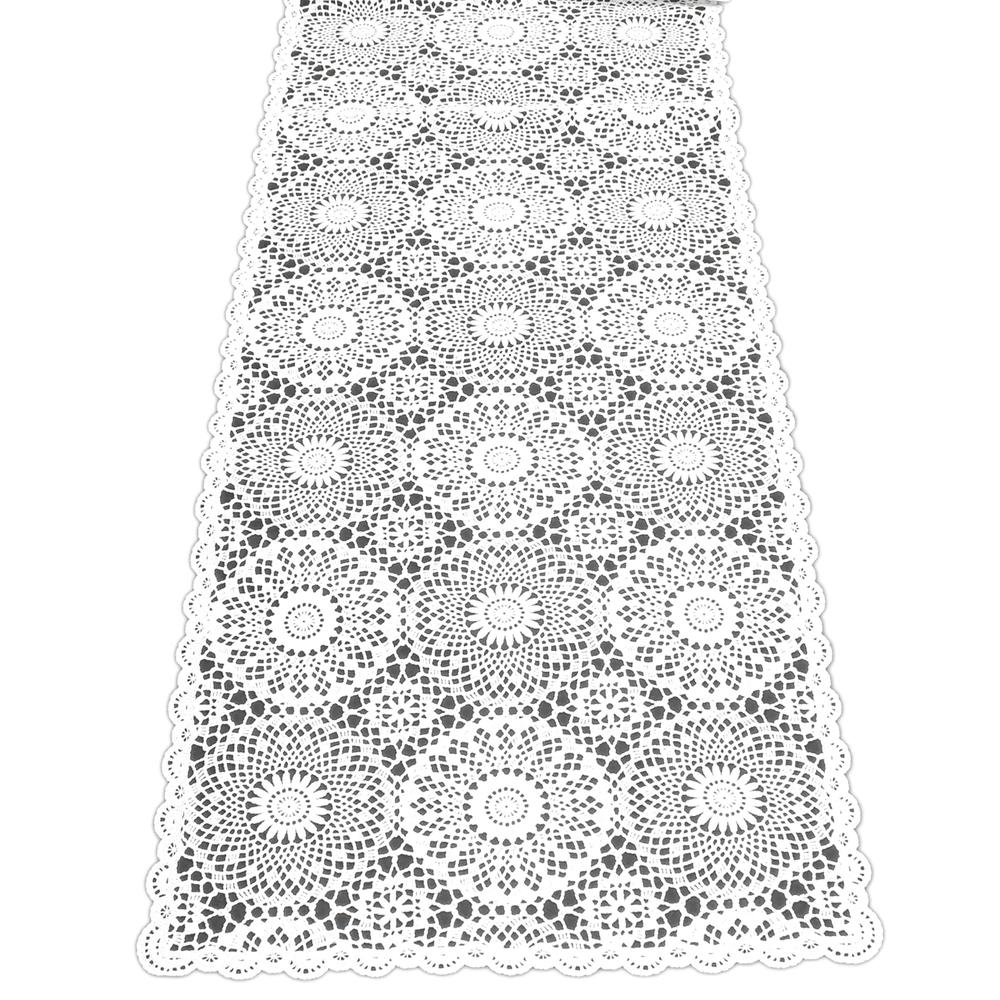 KERSTEN Outdoor-Tischläufer abwischbar wetterfest 'Crochet' 40x150cm Weiß – Bild 1