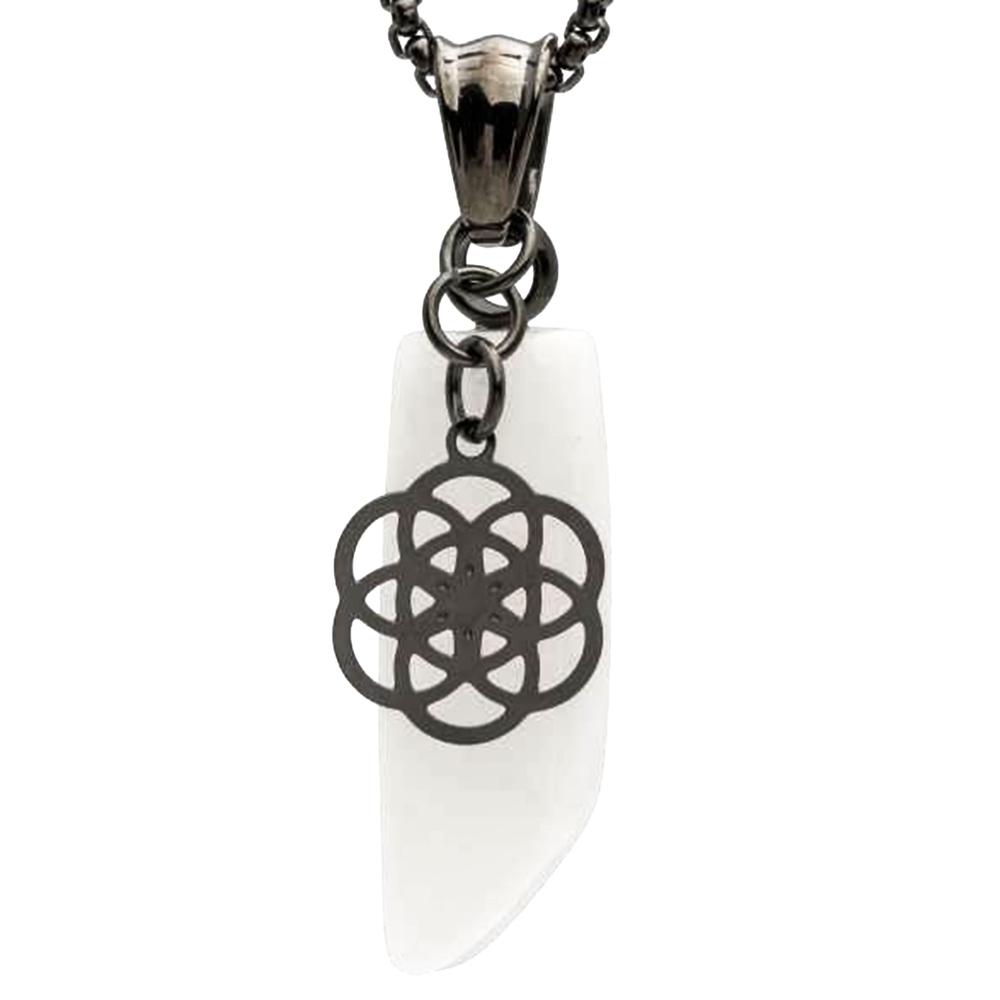 Traumfänger · Damen-Halsketten-Anhänger BLUME DES LEBENS Marmor 4.4cm · grau weiß TF09GRWH