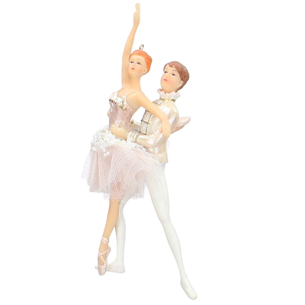 KERSTEN Christbaum-Anhänger Ballett-Paar 17.5cm weiß champagner 2er-Set – Bild 3