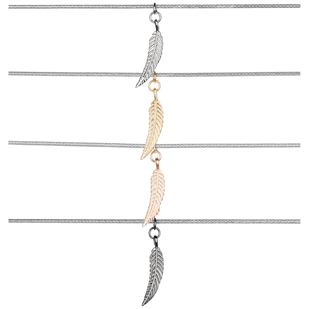 Traumfänger · Damen-Halskette mit Anhänger Halsschnüre Petit FEDER Nylon Edelstahl · grau TFP03 – Bild 1