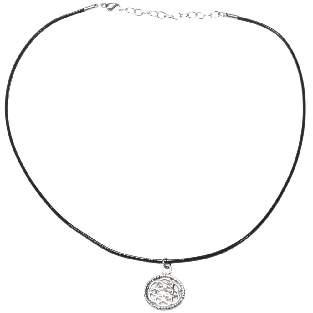 Traumfänger · Damen-Halskette mit Anhänger Halsschnüre Petit BLUME Nylon Edelstahl · schwarz TFP02 – Bild 2