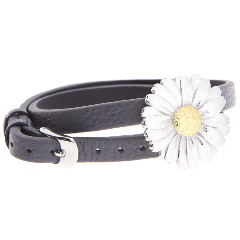 blumenkind · Damen-Lederarmband mit Blüte Halsband Edelstahl 45cm · stahl-silber BMBL01M – Bild 2