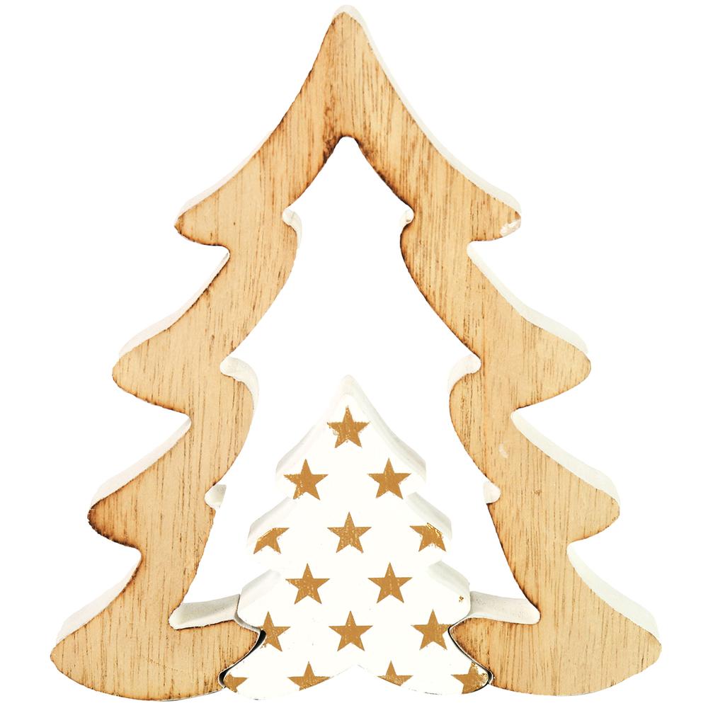 Countryfield · Holz-Weihnachtsbaum KRIS · natur weiß gold – Bild 1