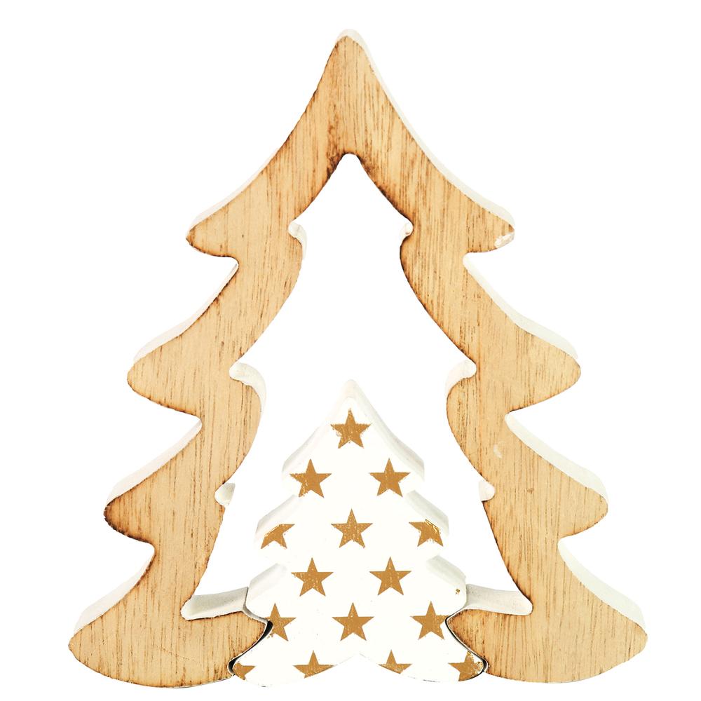 Countryfield · Holz-Weihnachtsbaum KRIS · natur weiß gold – Bild 2
