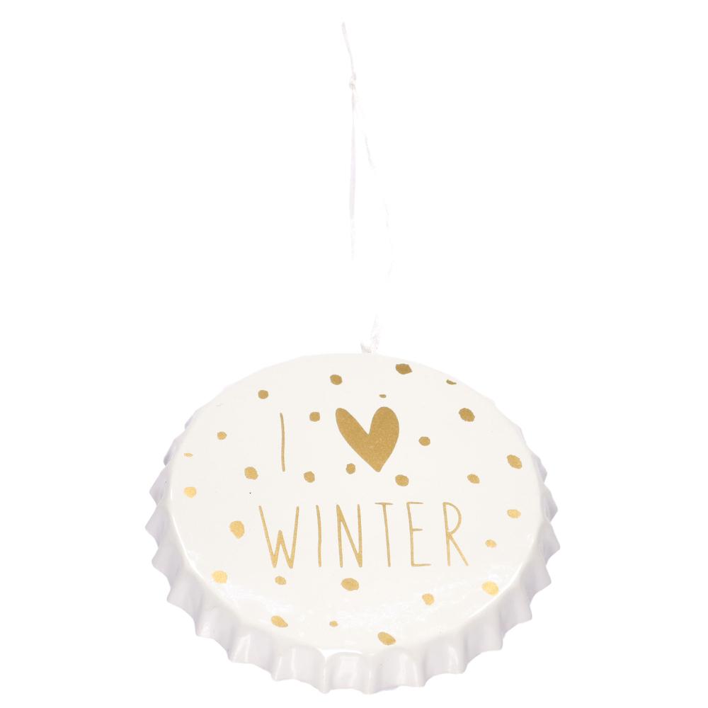 Countryfield · Christbaum-Anhänger Kronkorken I LOVE WINTER Arlet L 11cm · gold weiß  – Bild 1