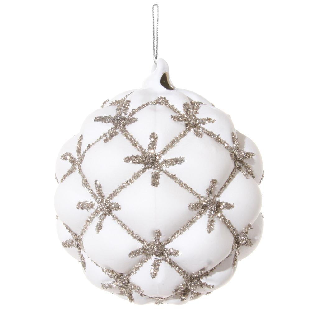 SHISHI · Christbaumkugel VELVET Glitter 10cm · weiß – Bild 1