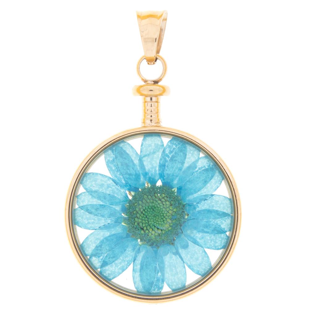 blumenkind · Damen-Halsketten-Anhänger Chrysantheme Edelstahl 3.4cm · roségold blau BL01MROBL