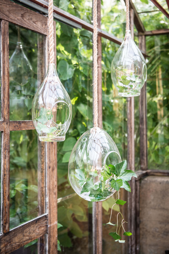 AFFARI Deko-Pflanzen-Glasbehälter hängend Blumentopf BUBBLE L 40cm transparent natur  – Bild 2