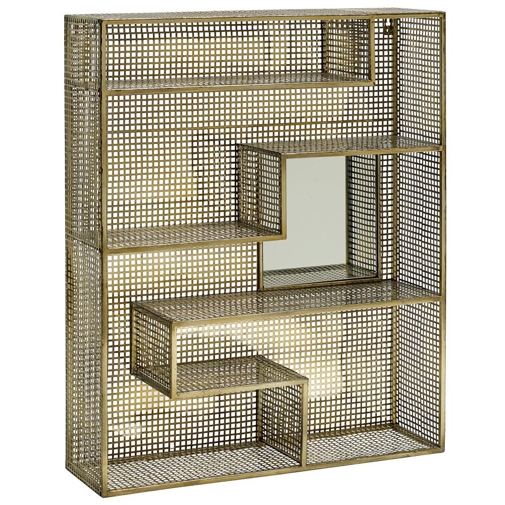 NORDAL Wandregal Spiegel Metall 91cm gold