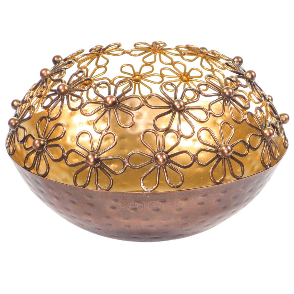 AM-Design Windlichthalter Blüte 18cm kupfer gold – Bild 1