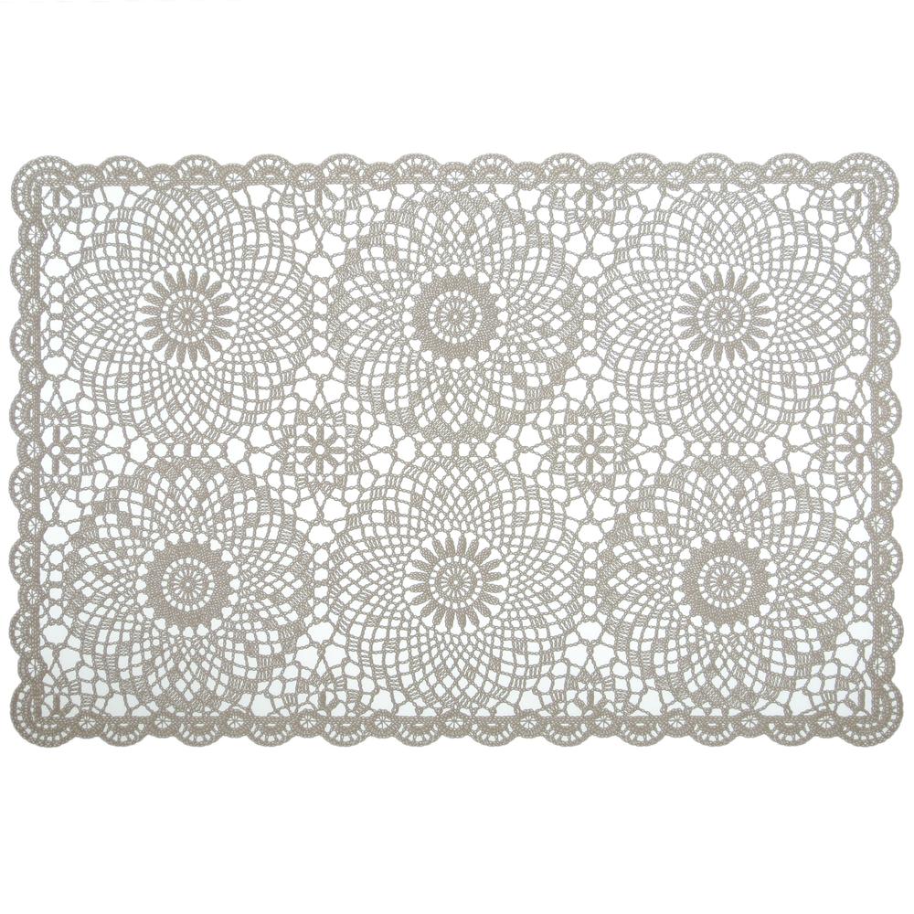 KERSTEN Häkel-Platzset Platzdeckchen abwischbar Outdoor 'Crochet' Zement-Grau Transparent 4er-Set – Bild 1