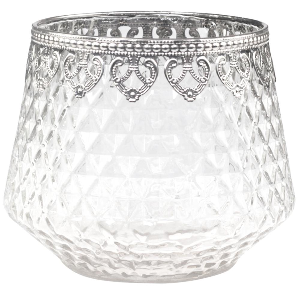 Chic Antique Denmark Glas-Vase Hurricane mit Silberdekor transparent silber – Bild 1