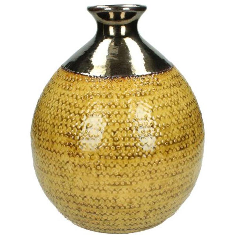 KERSTEN Vase Handmade Keramik 30cm senfgelb