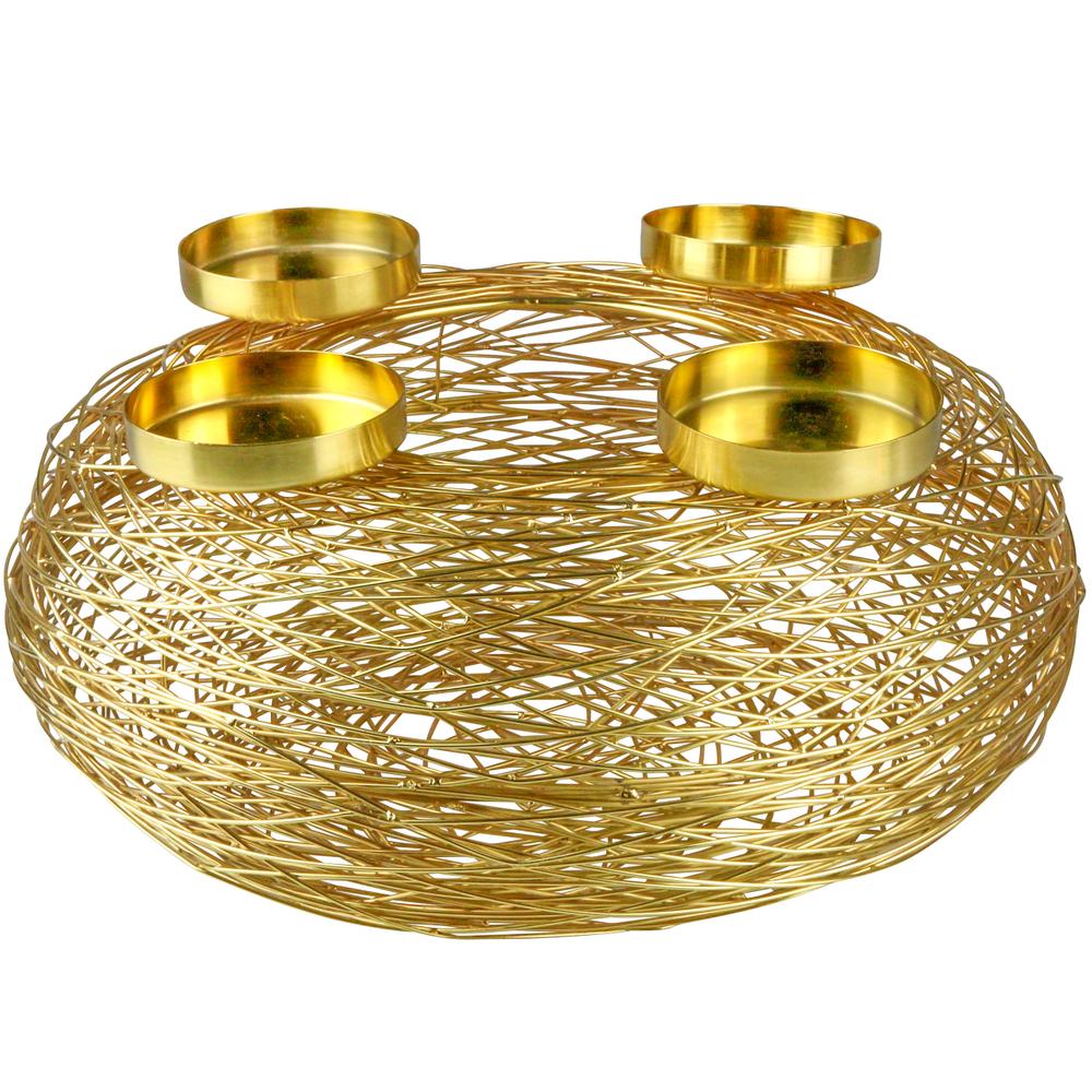 AM-Design Adventskranz Edelstahl 55cm gold