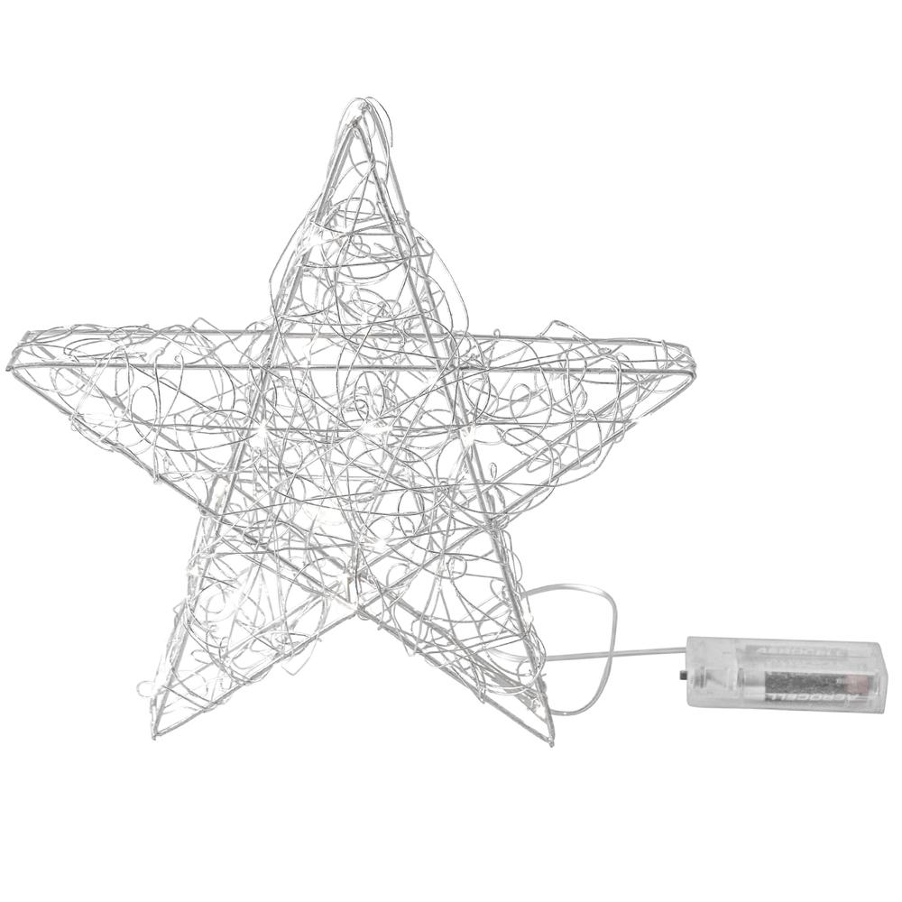 AM-Design LED-Drahtstern 10 Lichter batteriebetrieben 15cm silber transparent – Bild 1