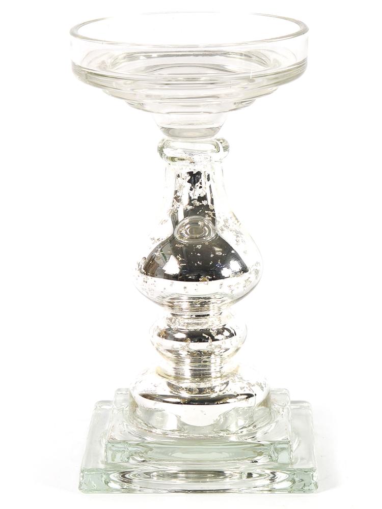 Countryfield Kerzenständer NATALIE S Glas 19cm silber