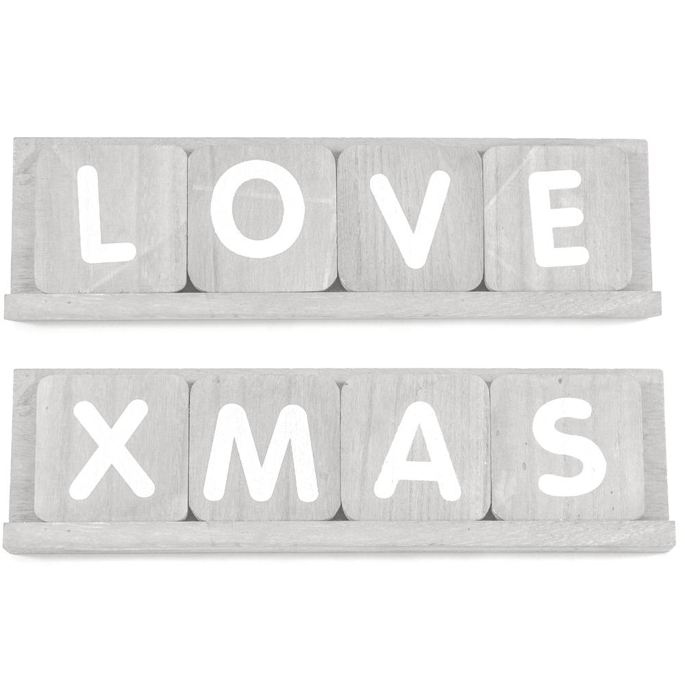 Countryfield Buchstabentafel DOLAN 35cm XMAS | LOVE grau weiß