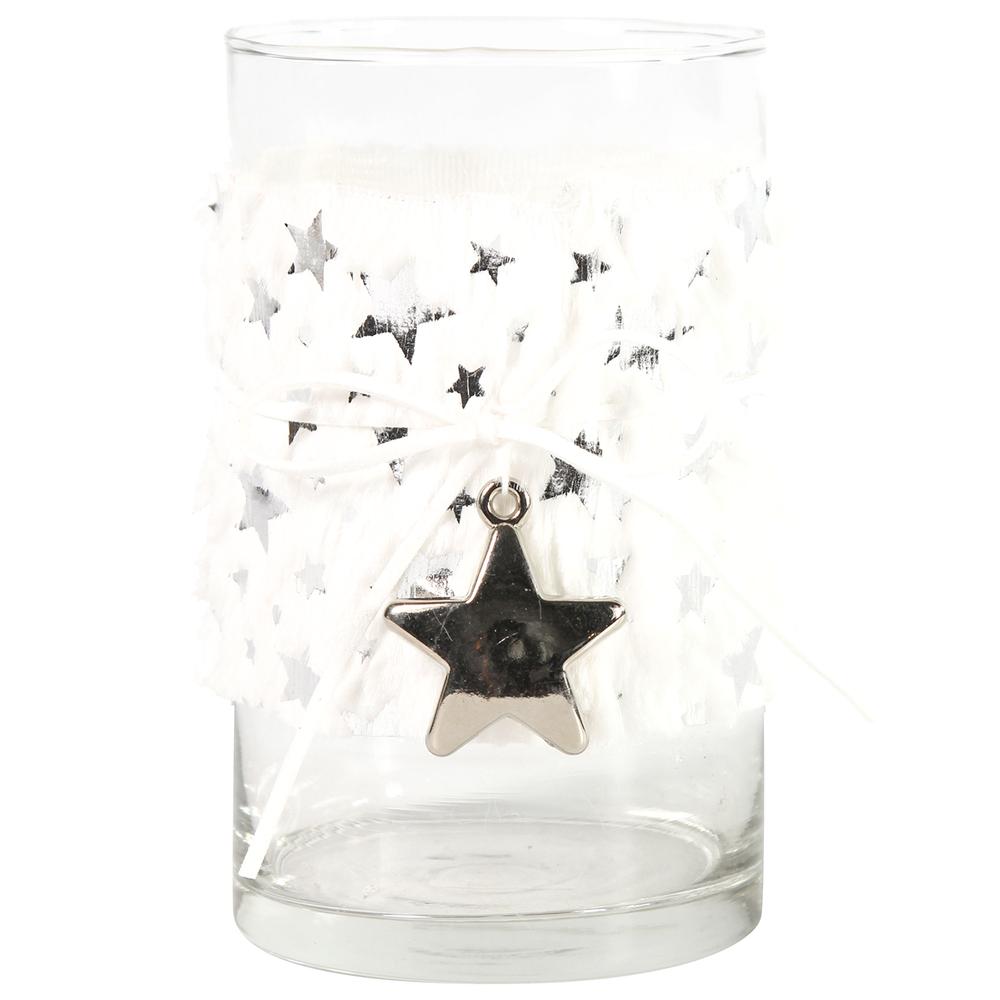 Countryfield Teelichtglas PERSICA L Fell 15cm weiß transparent