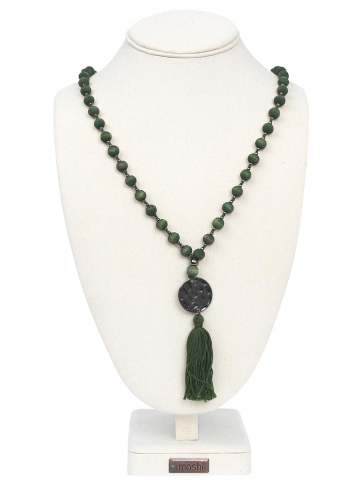 theMoshi Damen--Halskette Natalie Holz 60cm grün – Bild 3