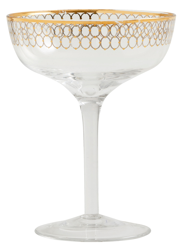 NORDAL Sektschale Cocktailglas 15cm gold transparent