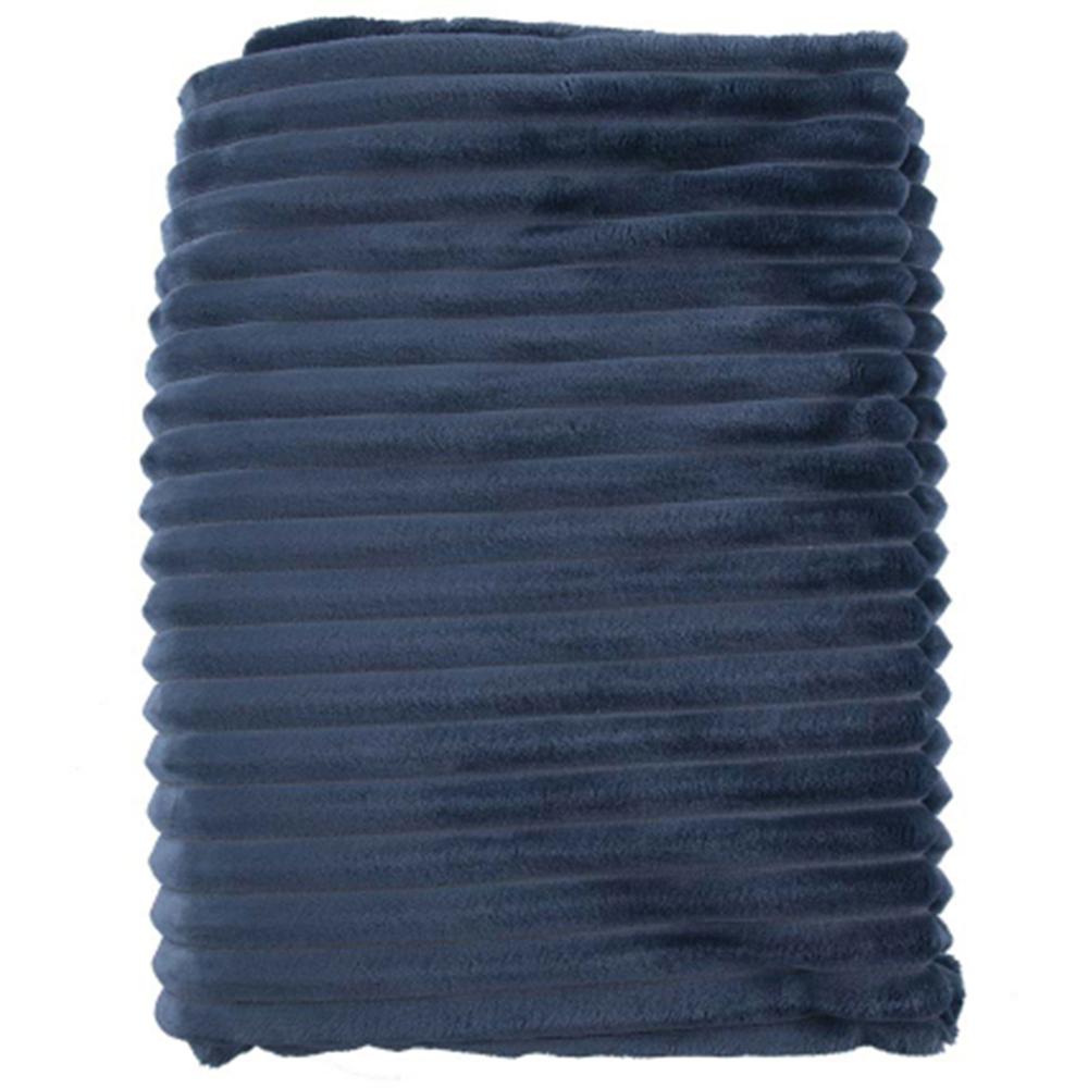 HOME SOCIETY. Kuscheldecke Tagesdecke gerippt 130x170cm blau – Bild 1