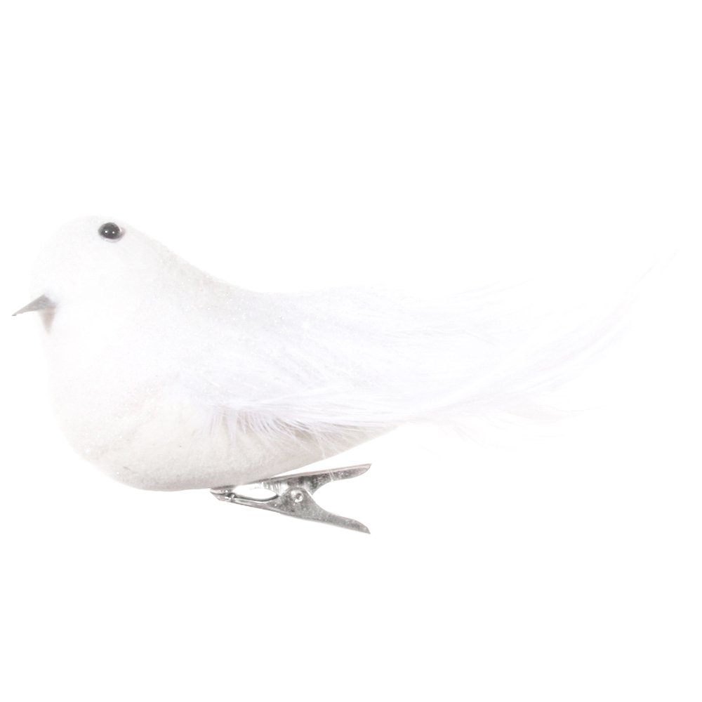 SHISHI Feder-Vogel Glitter Klemme 15cm weiß – Bild 1