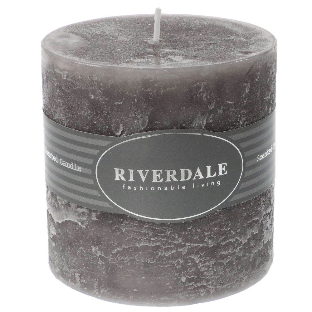 Riverdale Duftkerze 36h Pillar White Chocolate 7.5cm grau