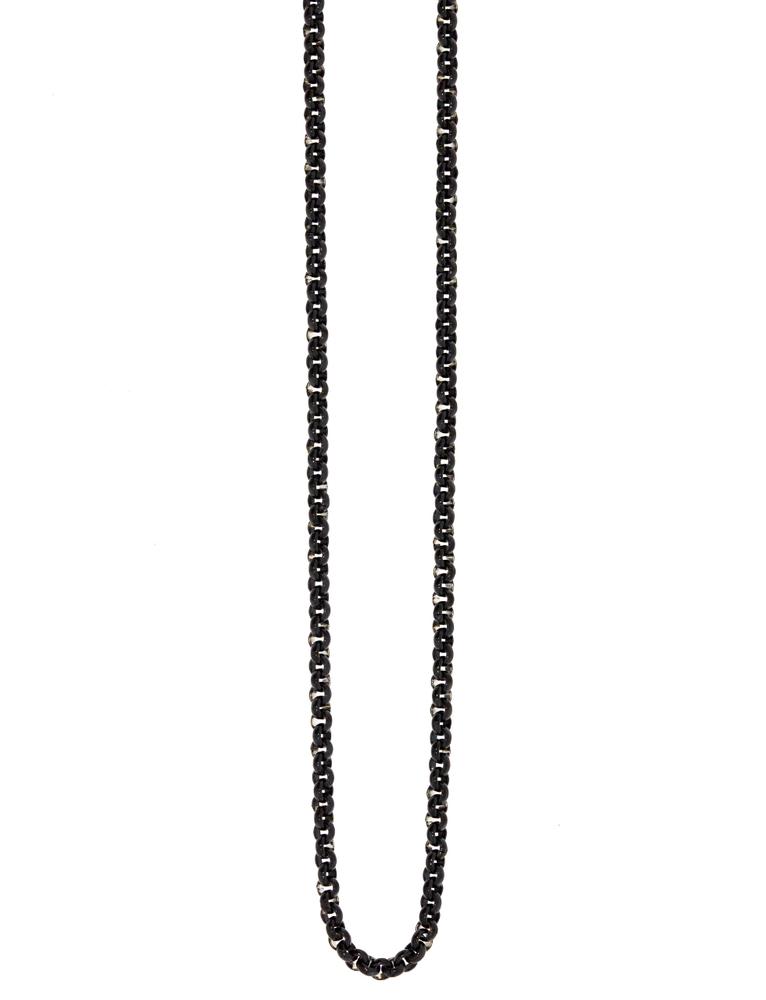 Traumfänger Damen-Halskette Gliederkette fein 2mm Schwarz – Bild 1
