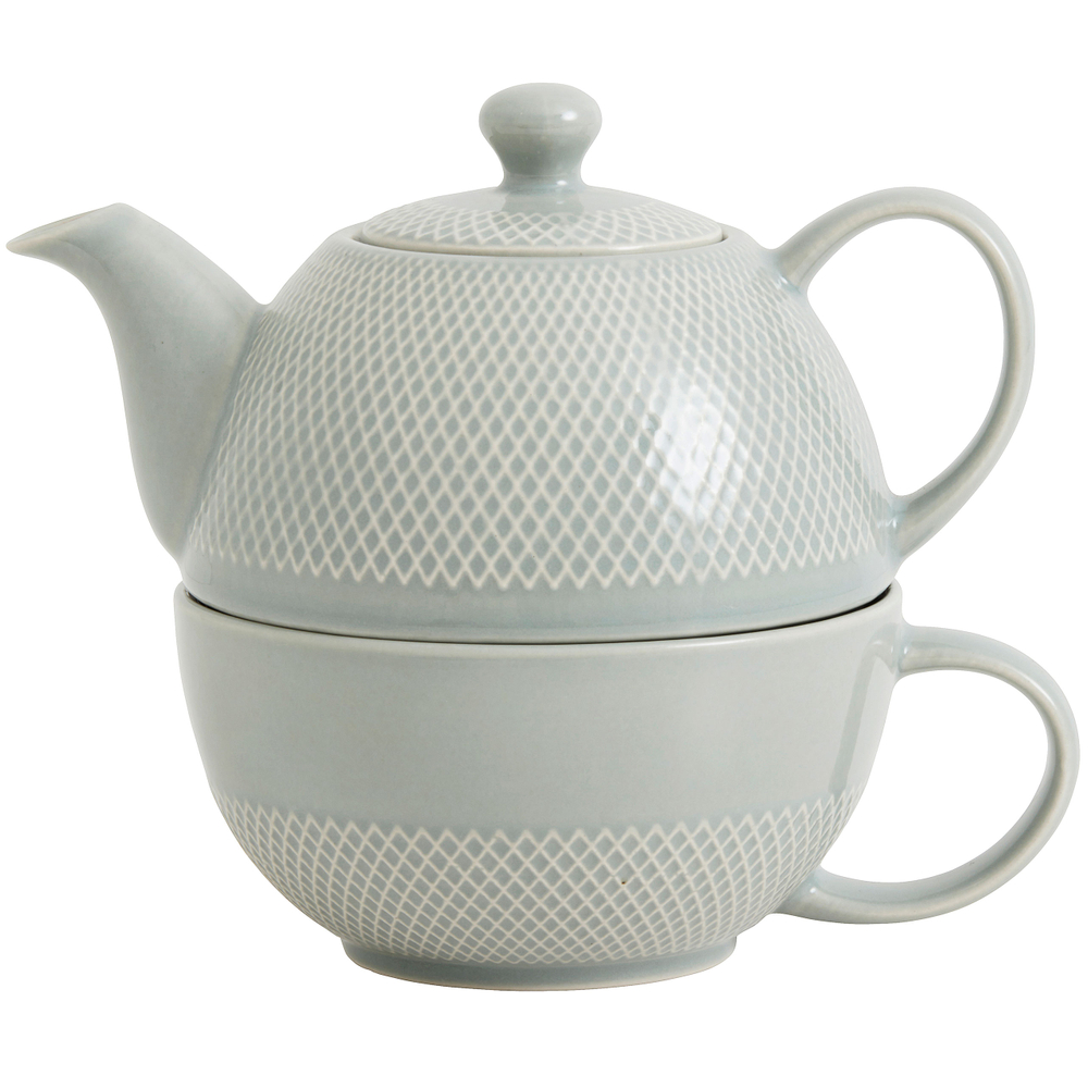 NORDAL TEA FOR ONE Kanne Tasse Keramik 14cm Hellgrau – Bild 1