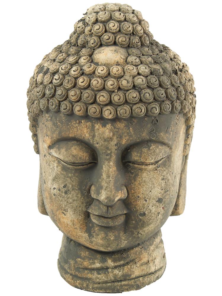 Countryfield Buddha Kopf-Skulptur Kenzo XL 24cm Grau – Bild 1