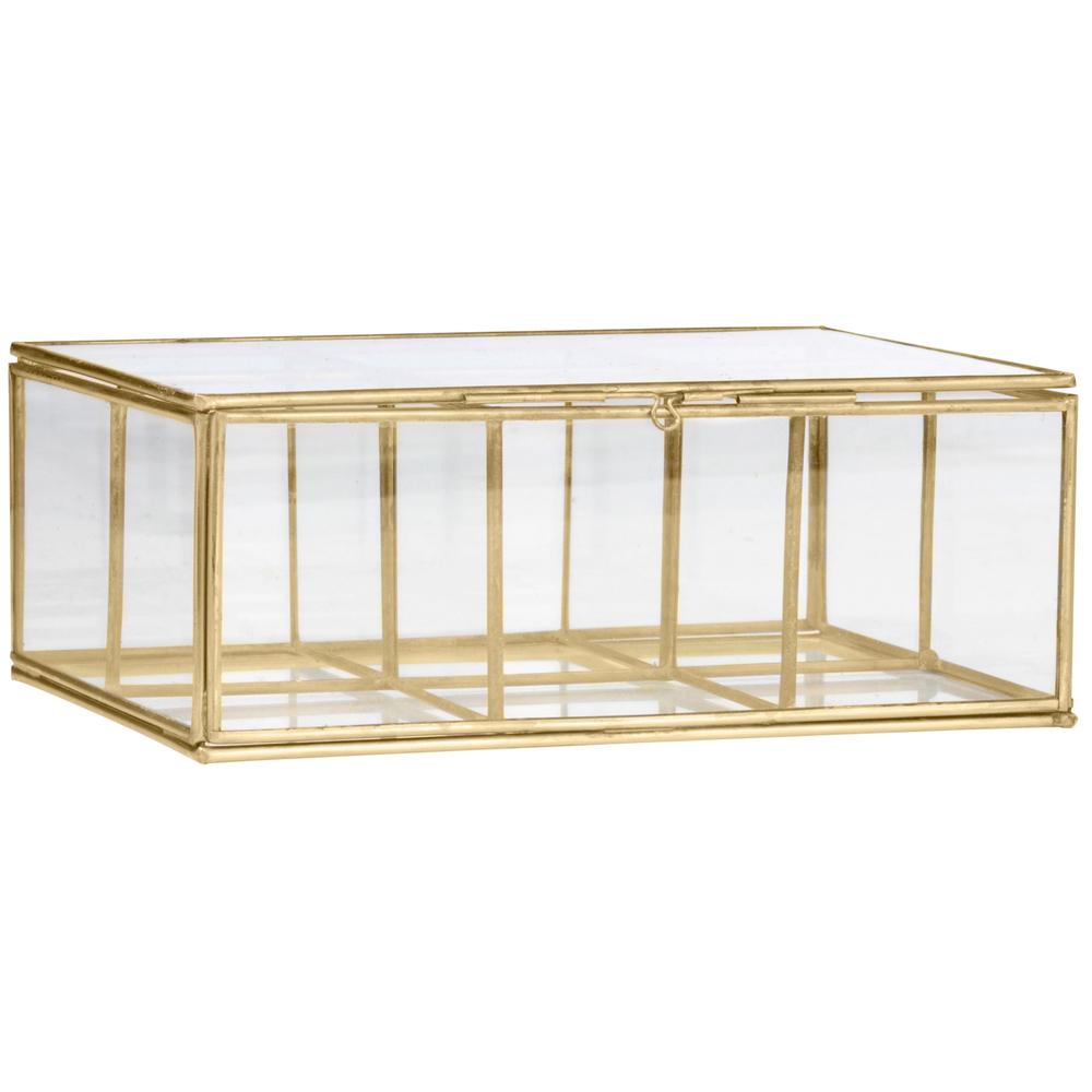 MADAM STOLTZ Glas-Box Schmuckkästchen 18cm Gold