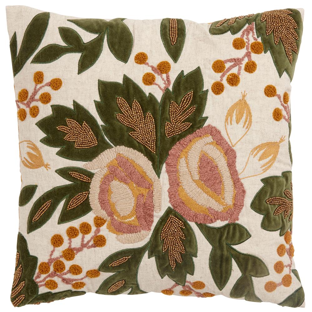 NORDAL Zierkissen-Bezug Blumen Perlen 48cm Rosé Curry