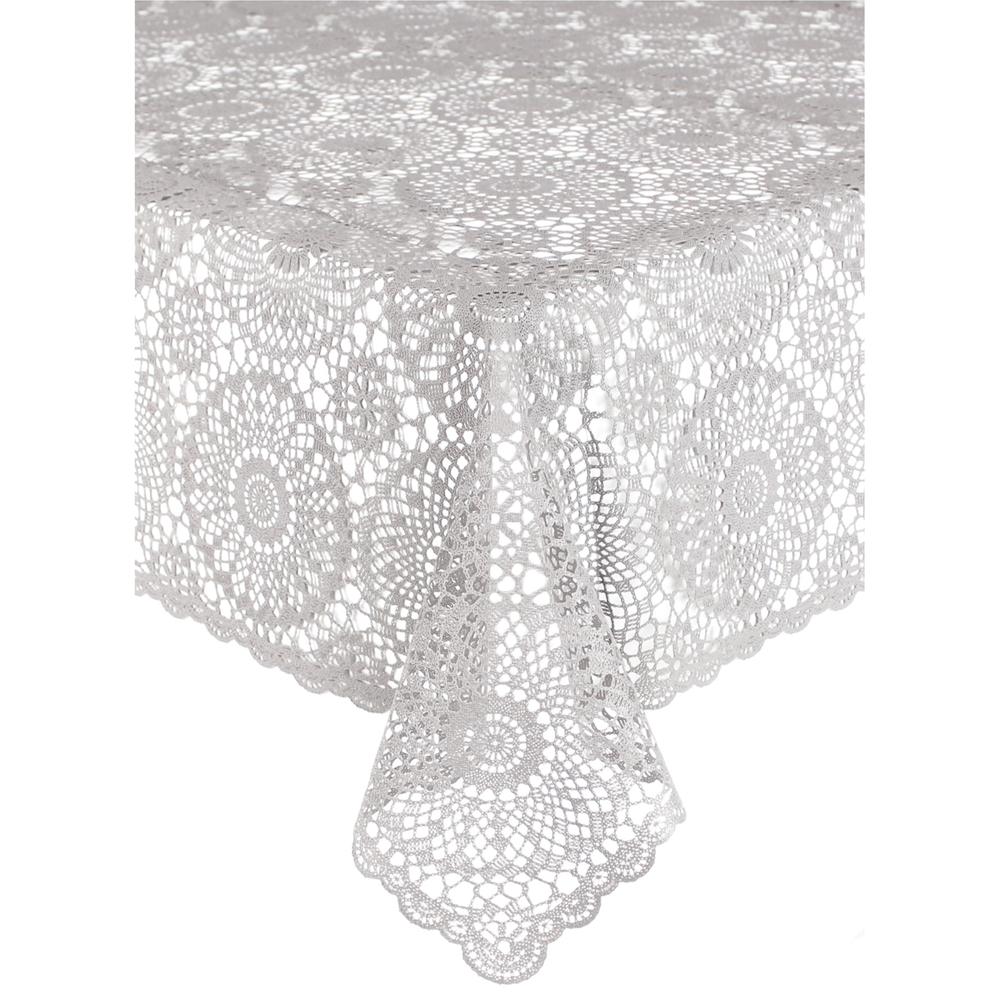 KERSTEN Outdoor-Tischdecke abwischbar wetterfest 'Crochet' 137x180cm Zement-Grau – Bild 1