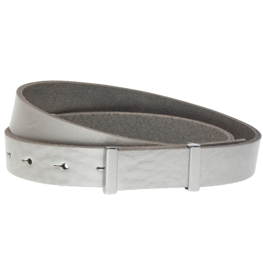 Luca Kayz Damen-Ledergürtel Classic Business CALVADOS silver 2.5cm Silber – Bild 1