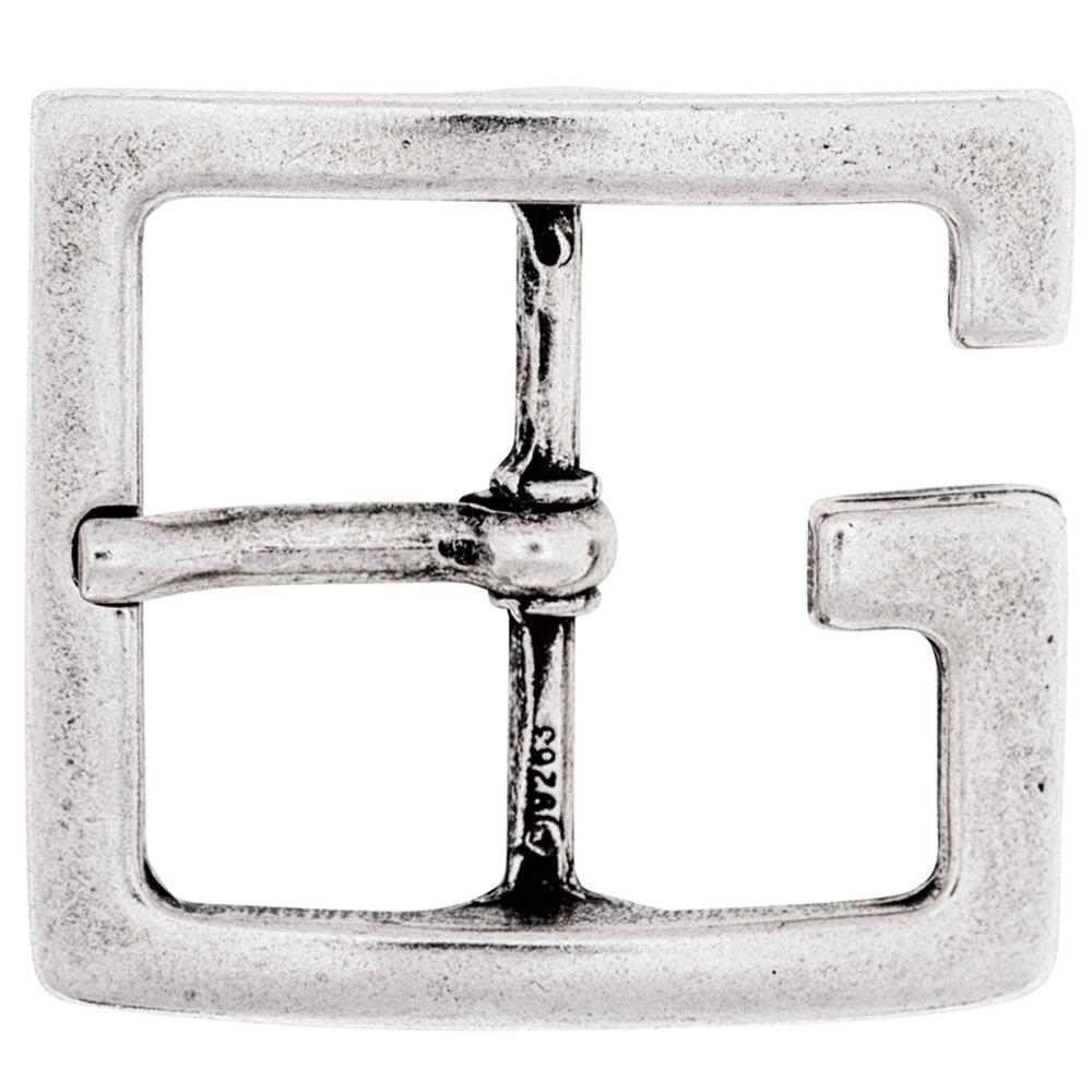 Luca Kayz Gürtelschnalle Wechselschließe Dornschließe eckiges G altsilber 6cm Silber-Antik – Bild 1