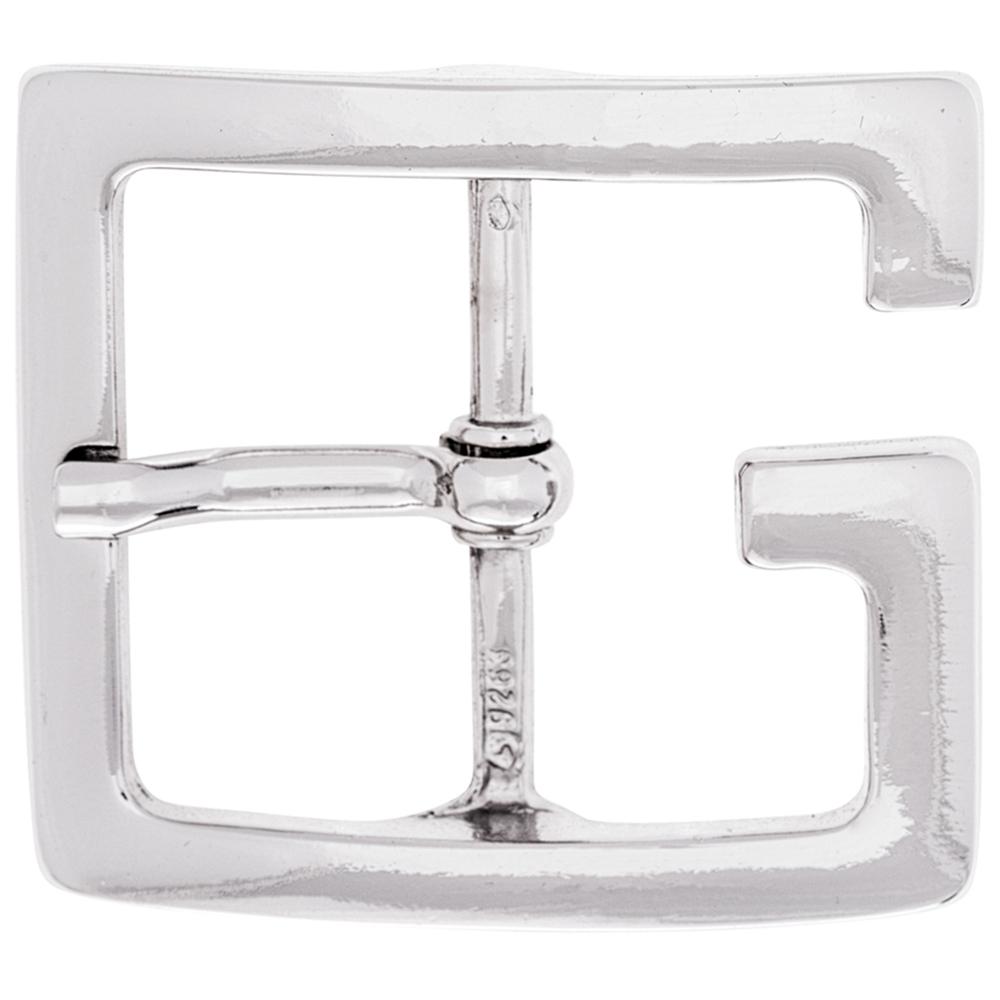 Luca Kayz Gürtelschnalle Wechselschließe Dornschließe eckiges G glänzend 6cm Silber – Bild 1