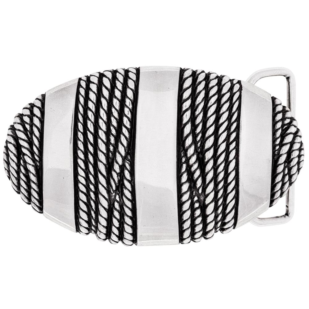 Luca Kayz Gürtelschnalle Wechselschließe Koppel mit Seil umwickelt 9cm Silber-Antik – Bild 1