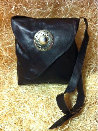 Moroccan Leather Handbag Nada - Dark Brown – image 3