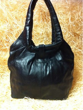 Moroccan Leather Handbag Fatin - Black – image 2
