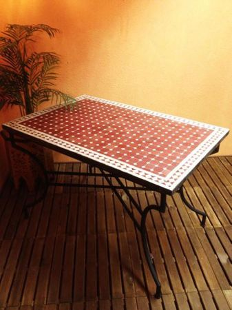 Mosaic Table Marrakesch Bordaux/ White, 120x80cm – image 1