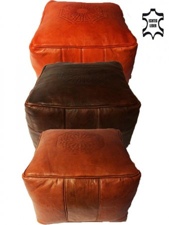 Moroccan Leather Seat Cushion Shey - Dark Brown – image 5