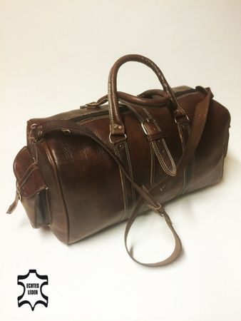 Moroccan Leather Traveling Bag Viajar - Brown – image 1