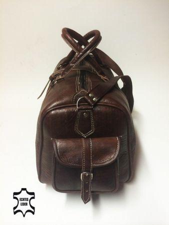 Moroccan Leather Traveling Bag Viajar - Brown – image 3