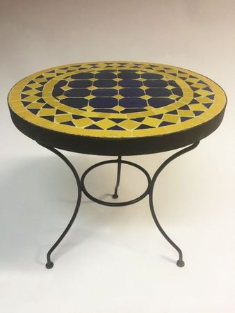 Mosaic table Marrakesch Blue Yellow, 40cm – image 3