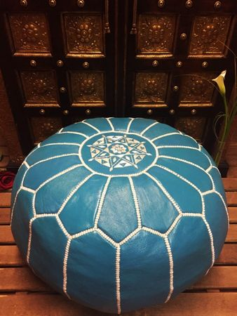 Oriental Leather Seat Cushion Iskandar - blue 54cm – image 5