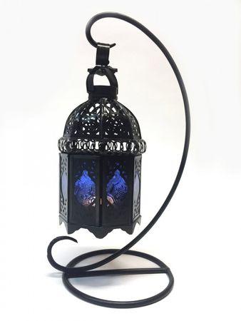 Moroccan Lantern Ulima blue, (including lantern stand). – image 1